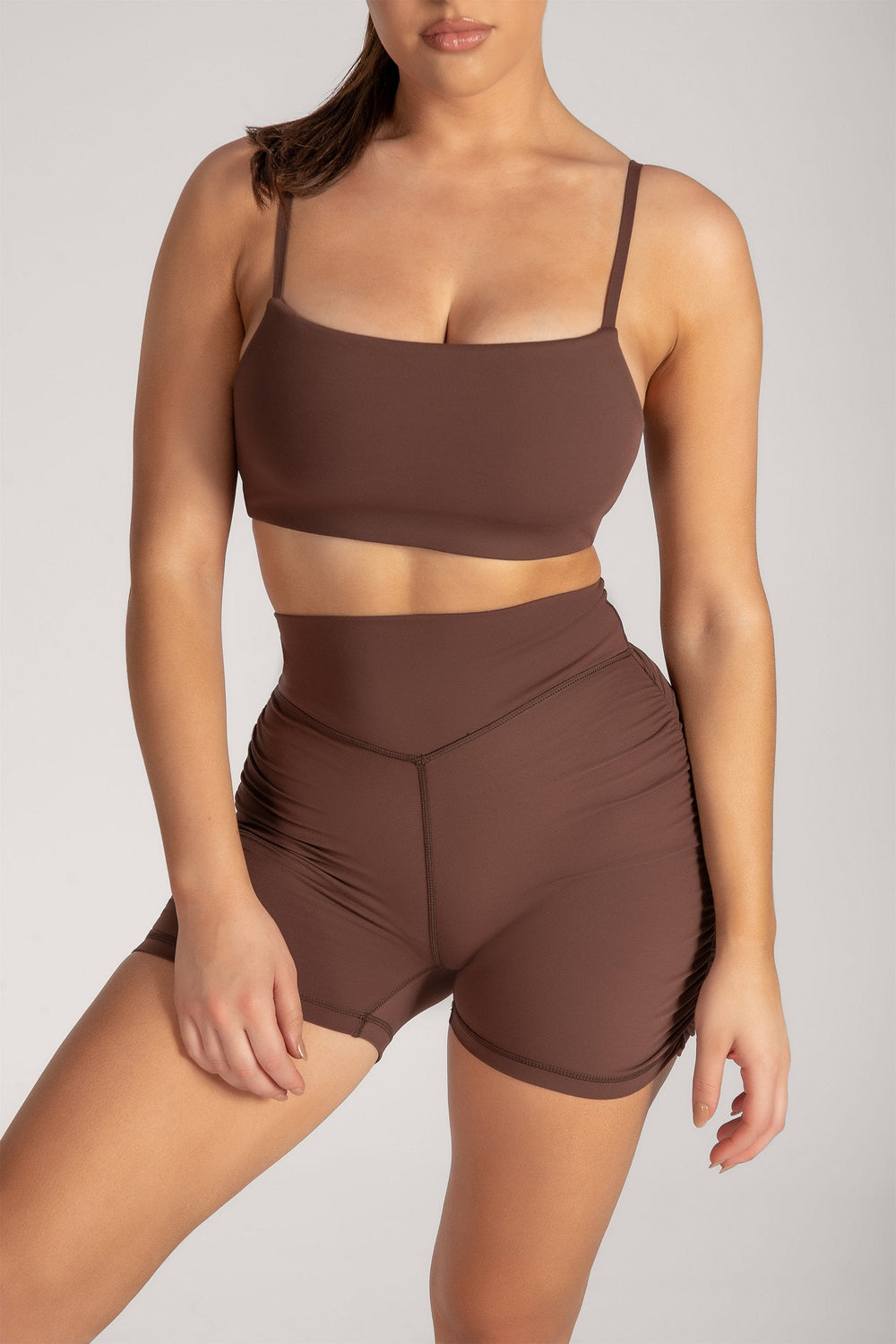 Asteria Thin Strap Crop Top - Chocolate - MESHKI ?id=16078475657291