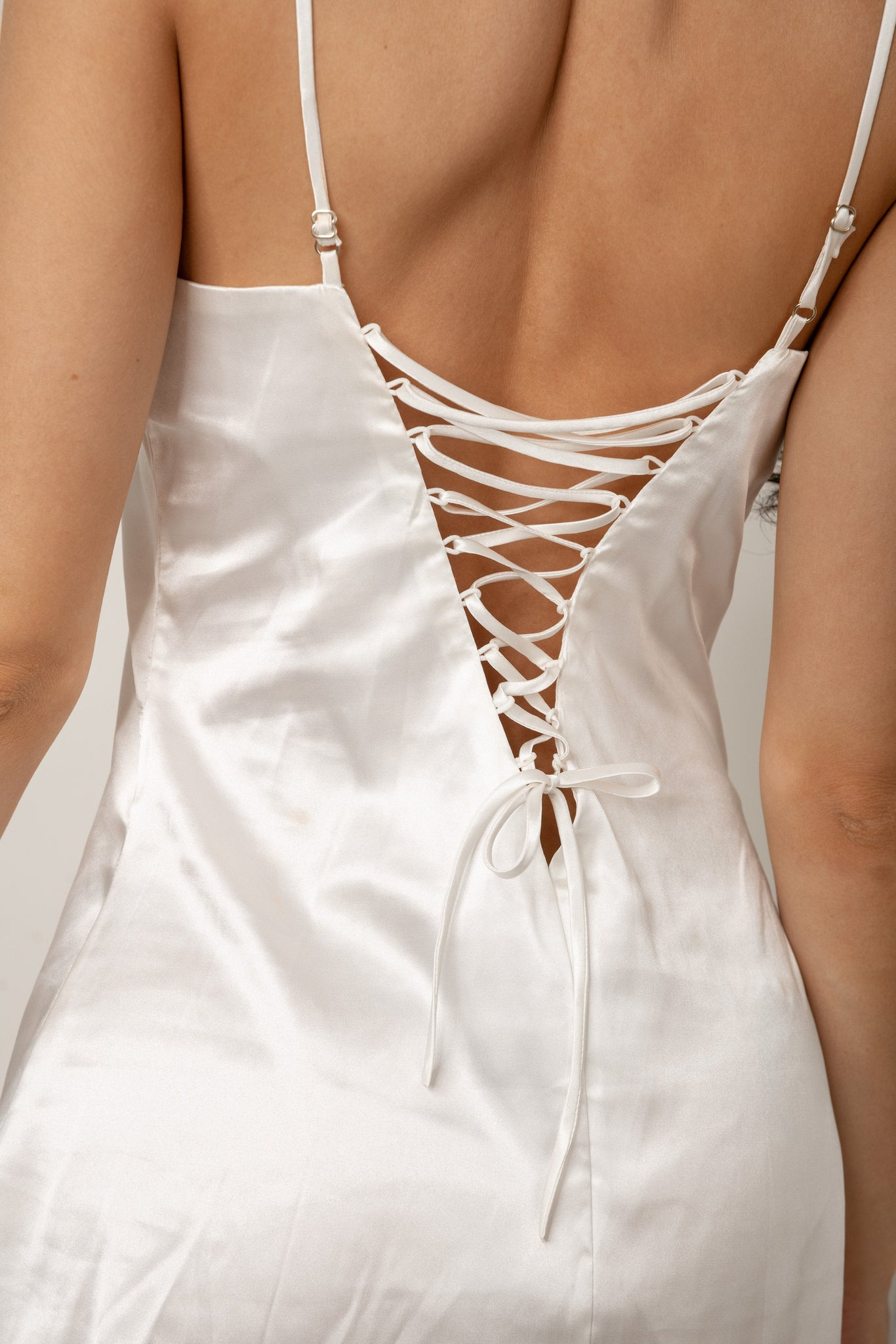 Kylee Lace Up Slip Dress - Ivory - MESHKI