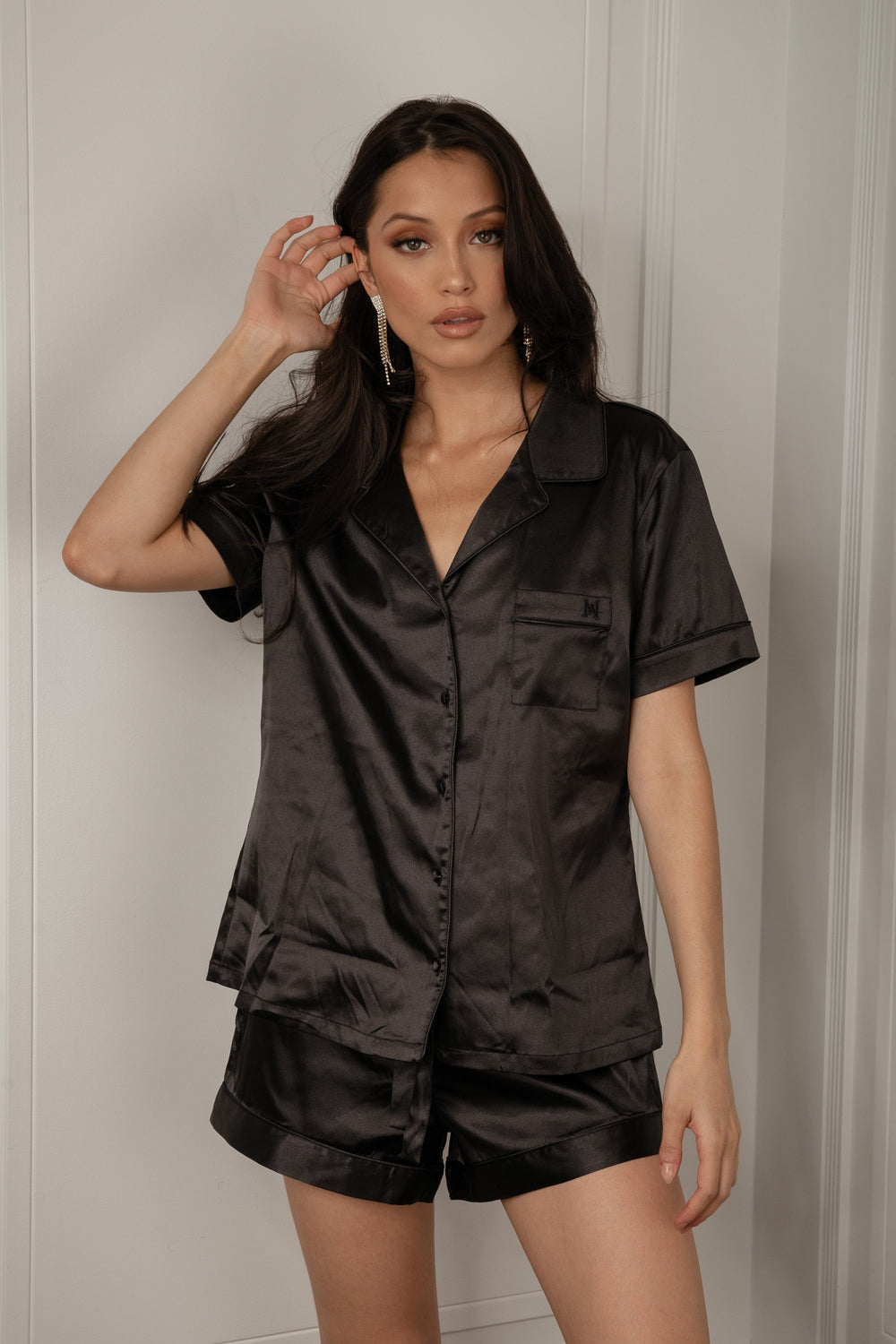 Claire Satin Short Sleeve Pyjama Top - Black - MESHKI ?id=16060357279819