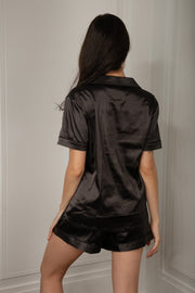 Claire Satin Short Sleeve Pyjama Top - Black - MESHKI ?id=16060357312587