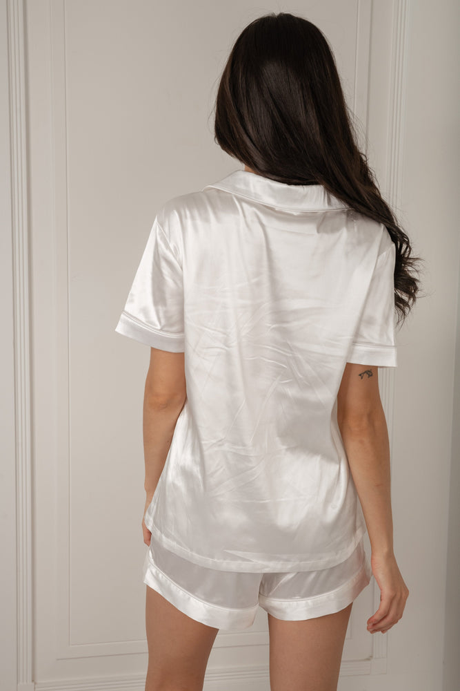 Claire Satin Short Sleeve Pyjama Top - Ivory - MESHKI