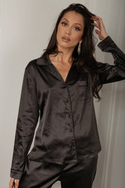 Abigail Satin Long Sleeve Pyjama Top - Black - MESHKI ?id=16060473770059