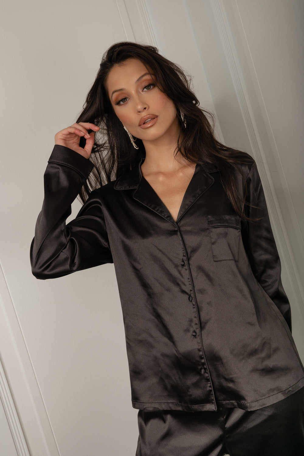 Abigail Satin Long Sleeve Pyjama Top - Black - MESHKI ?id=16060473638987