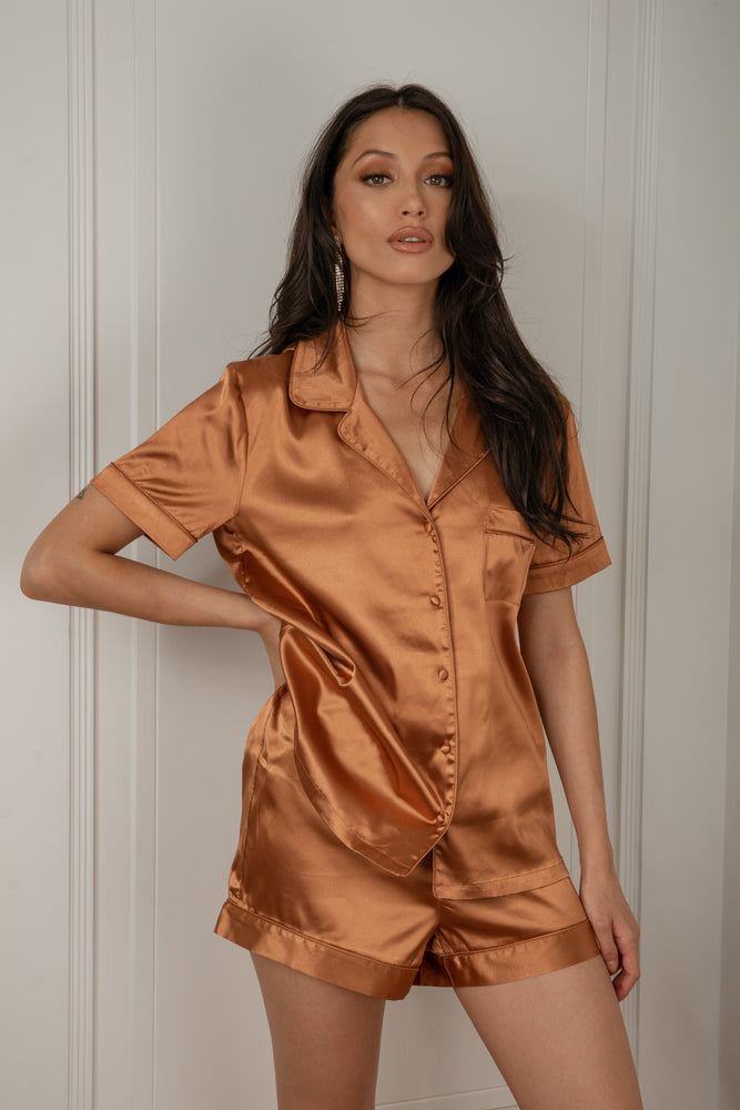 Claire Satin Short Sleeve Pyjama Top - Biscuit - MESHKI