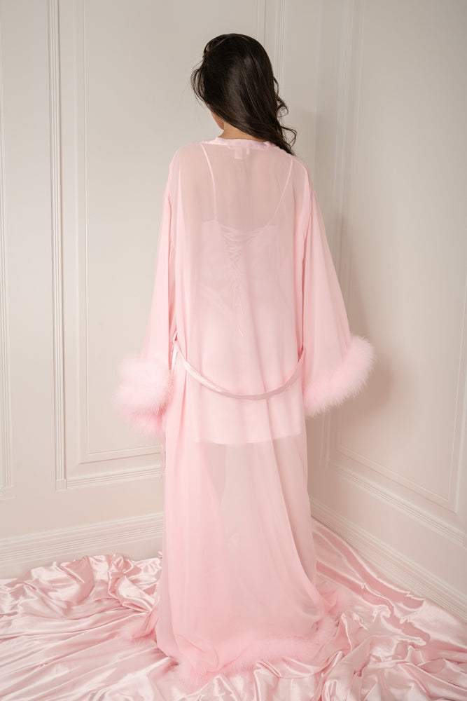 Clara Long Feather Trim Robe - Baby Pink - MESHKI