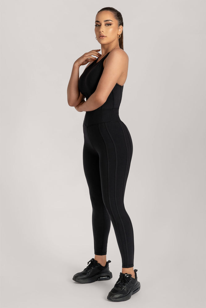 Hera Panelled Leggings - Black - MESHKI