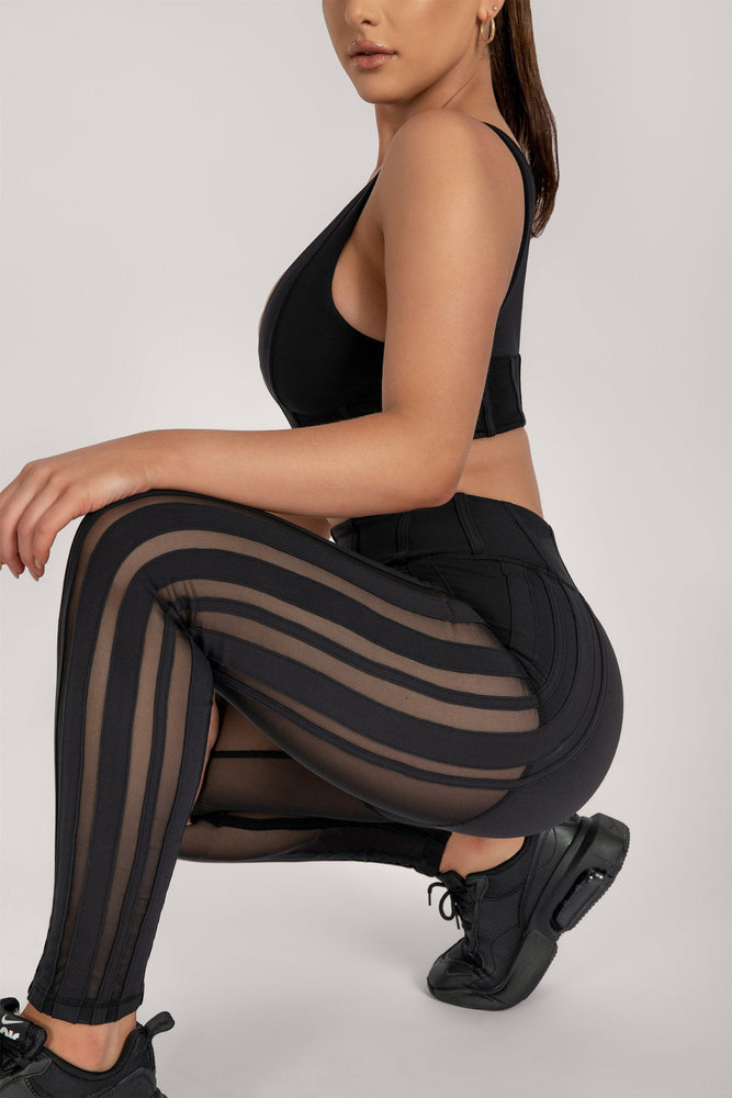Dion Mesh Pannelled Leggings - Black - MESHKI