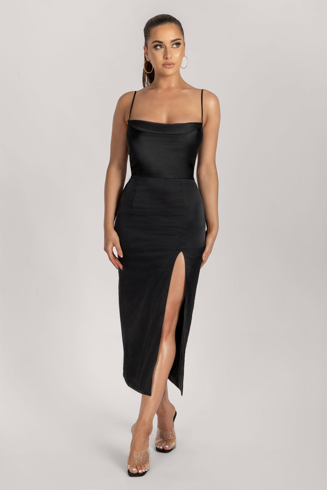 Kimberly Cowl Neck Dress - Black - MESHKI