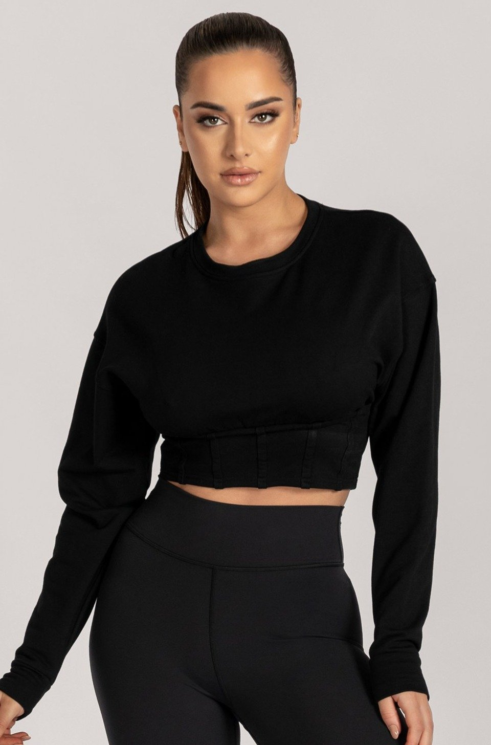 Hestia Panelled Cropped Jumper - Black - MESHKI ?id=16083065077835