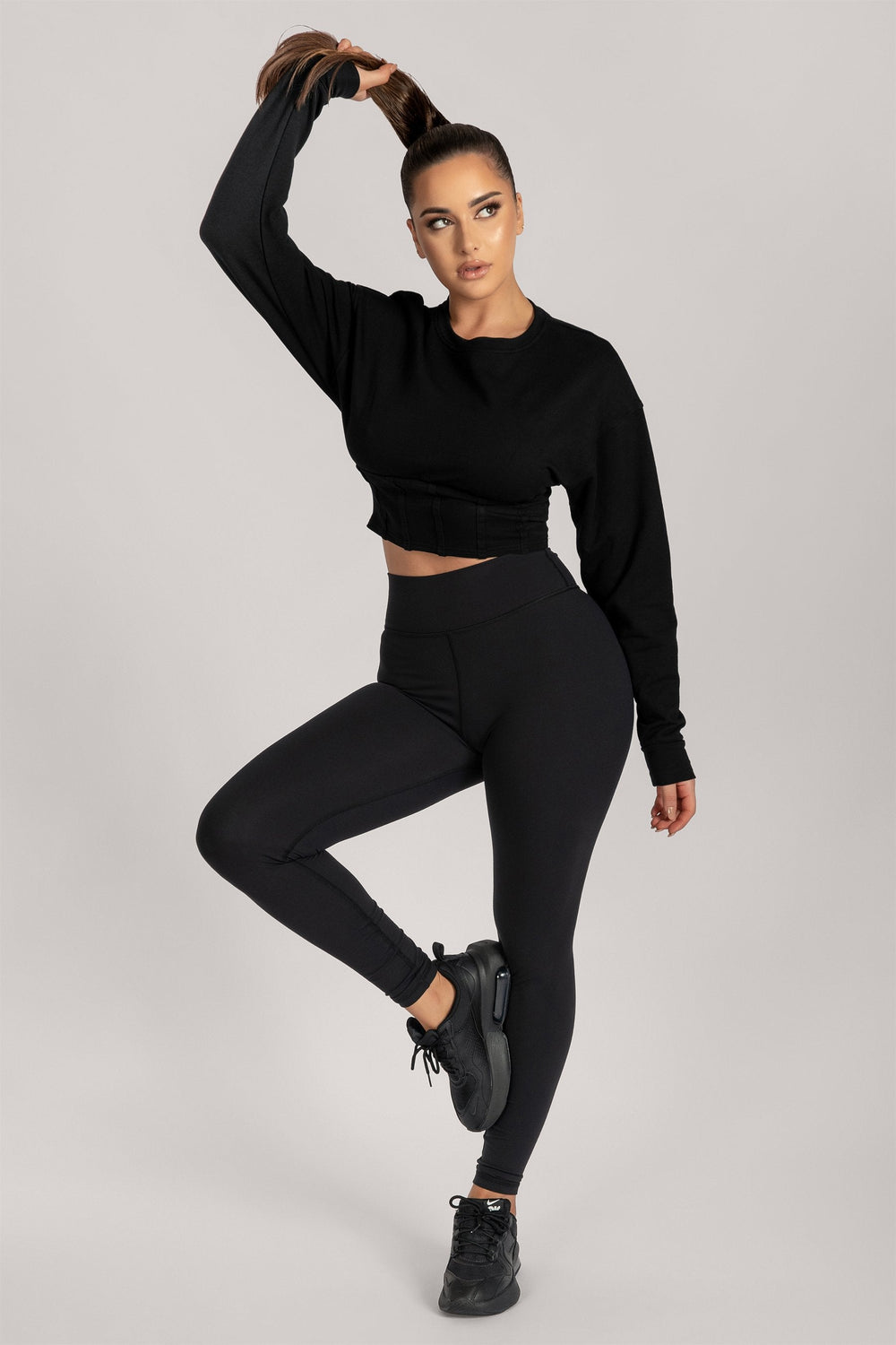 Hestia Panelled Cropped Jumper - Black - MESHKI ?id=16083065110603