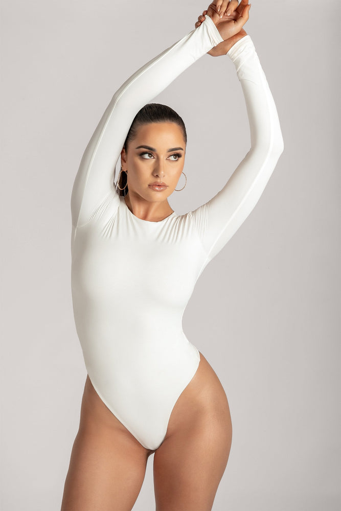 Lydia Crew Neck Long Sleeve Bodysuit - White