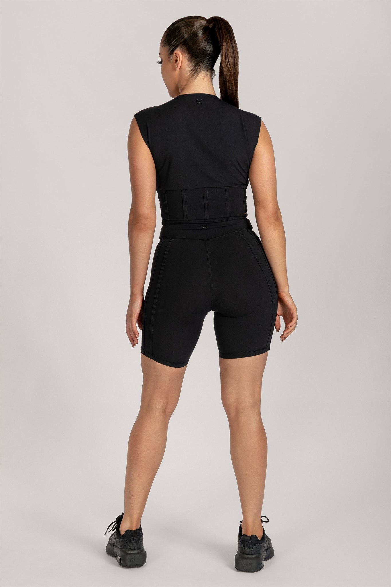 Hestia Panelled Sleeveless Crop Top - Black - MESHKI