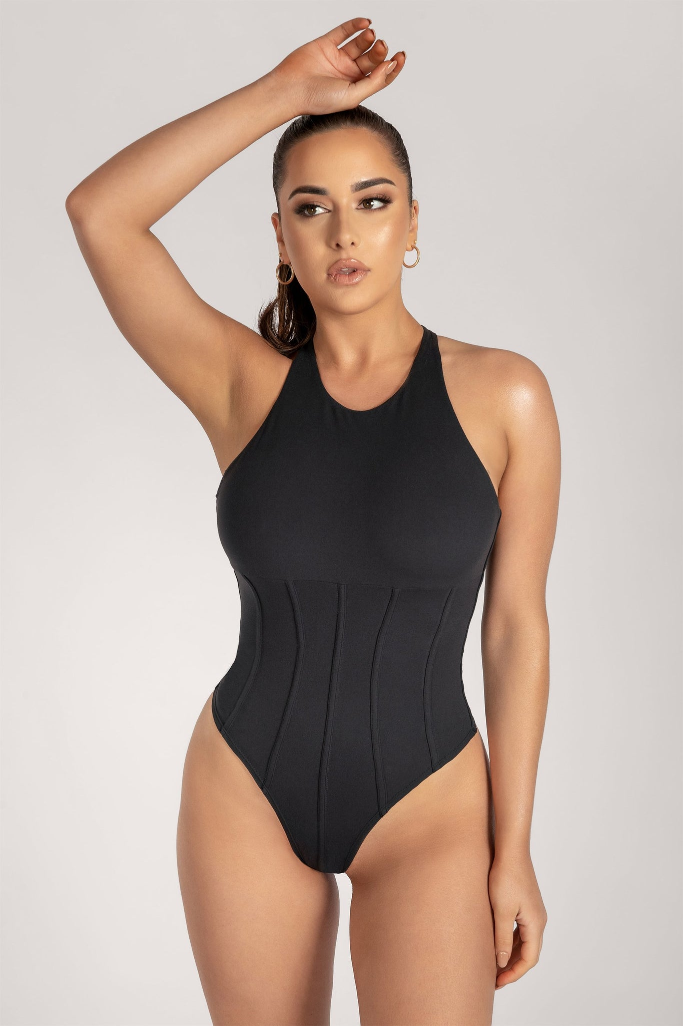 Hera Panelled Bodysuit - Black - MESHKI