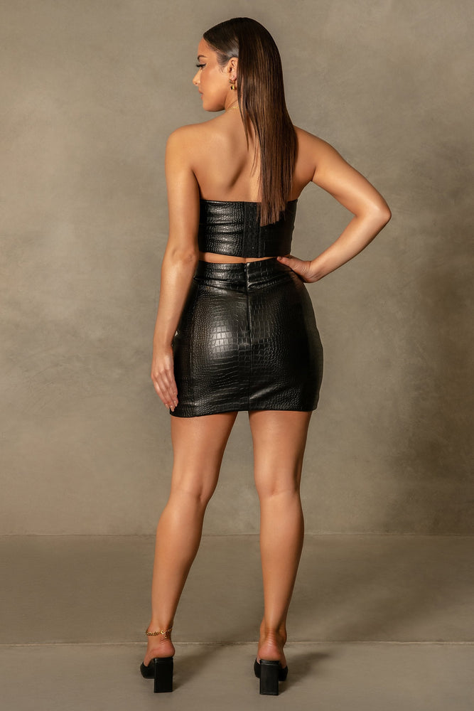 Annabelle Croc Bodycon Mini Skirt - Black - MESHKI