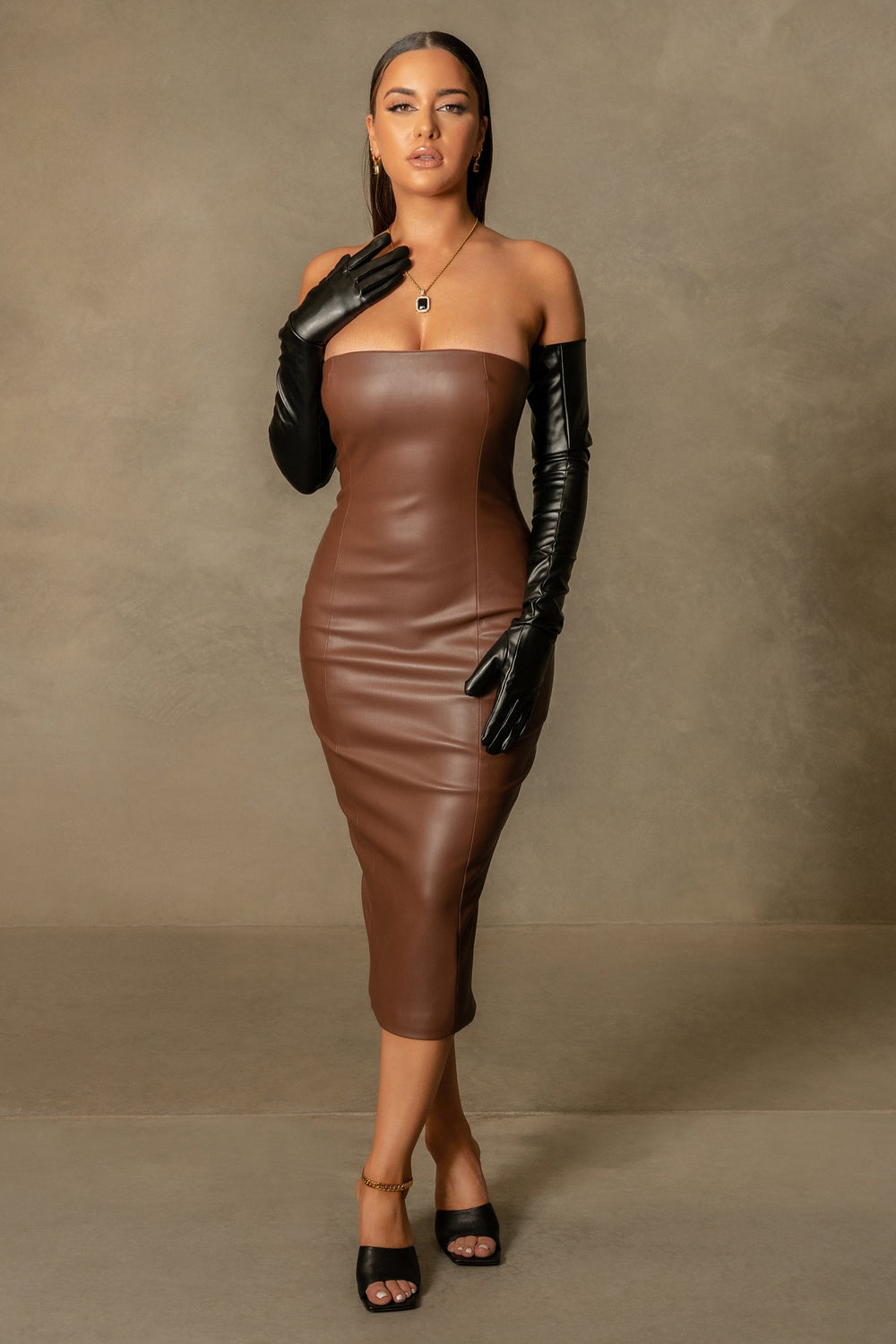 Pamela Strapless Faux Leather Dress - Chocolate - MESHKI ?id=16109718274123