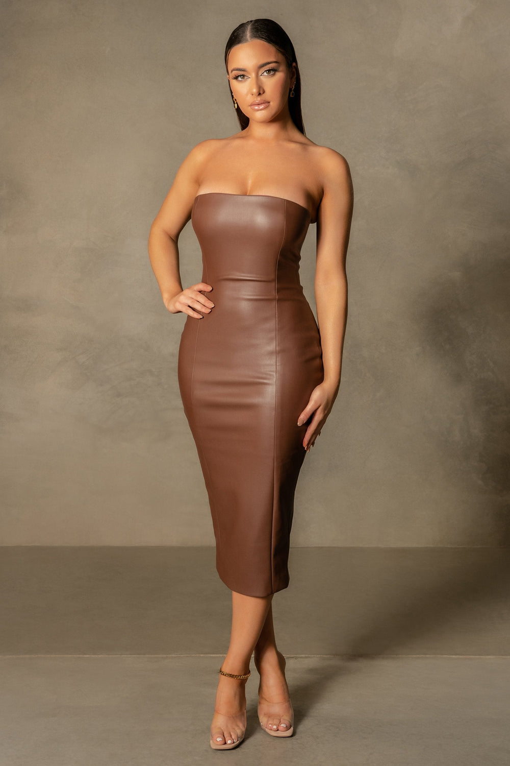 Pamela Strapless Faux Leather Dress - Chocolate - MESHKI ?id=16109717684299