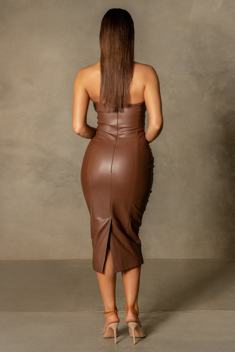 Pamela Strapless Faux Leather Dress - Chocolate - MESHKI ?id=16109718241355