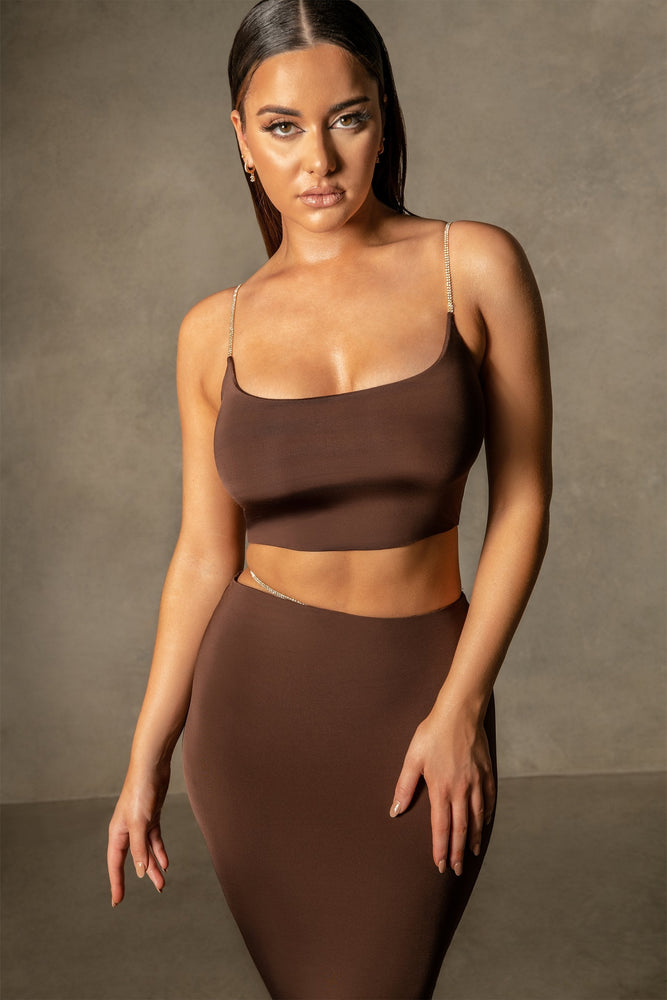 Elle Strappy Crop Top - Chocolate - MESHKI
