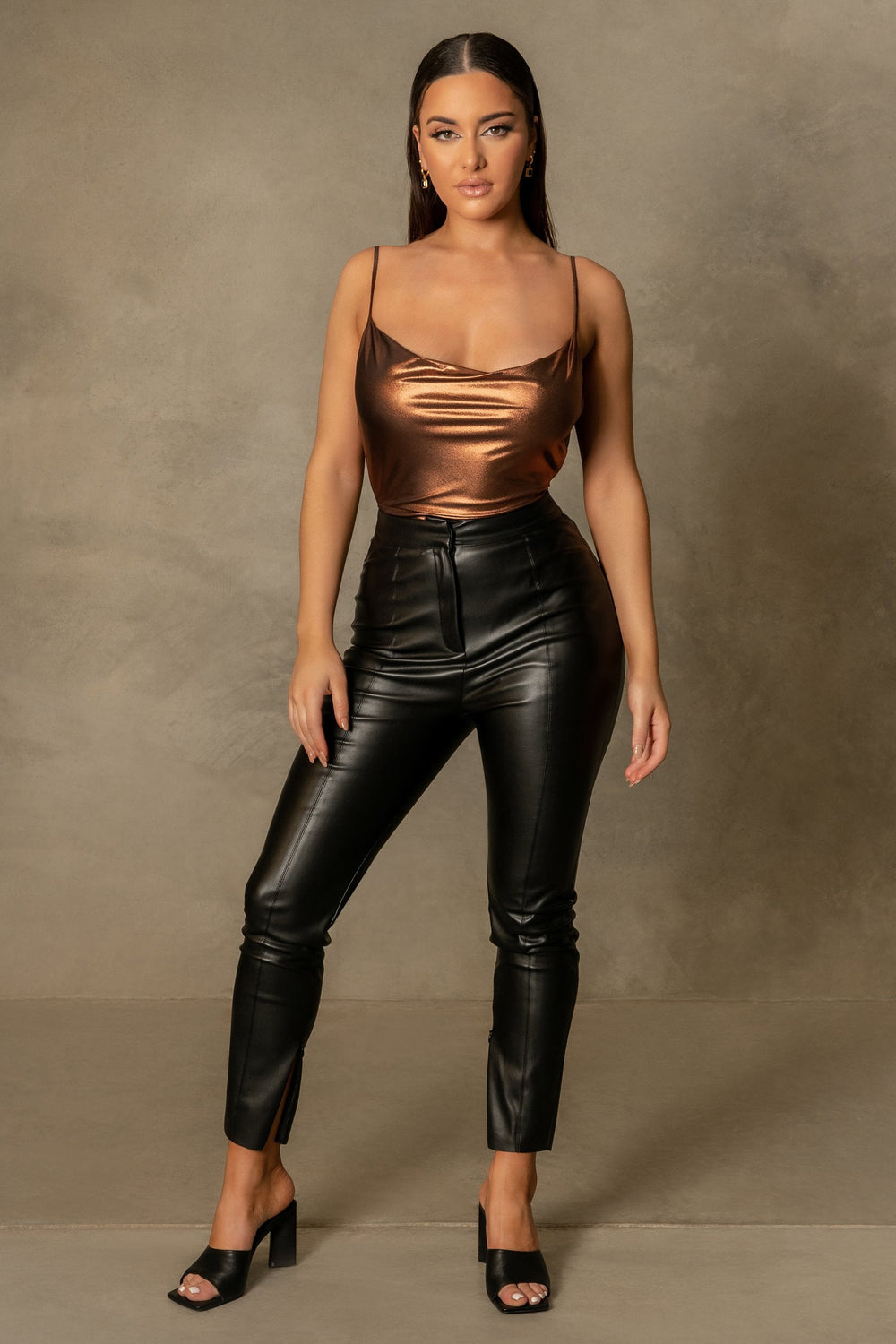 Cita Metallic Cowl Bodysuit - Chocolate - MESHKI ?id=16109880115275