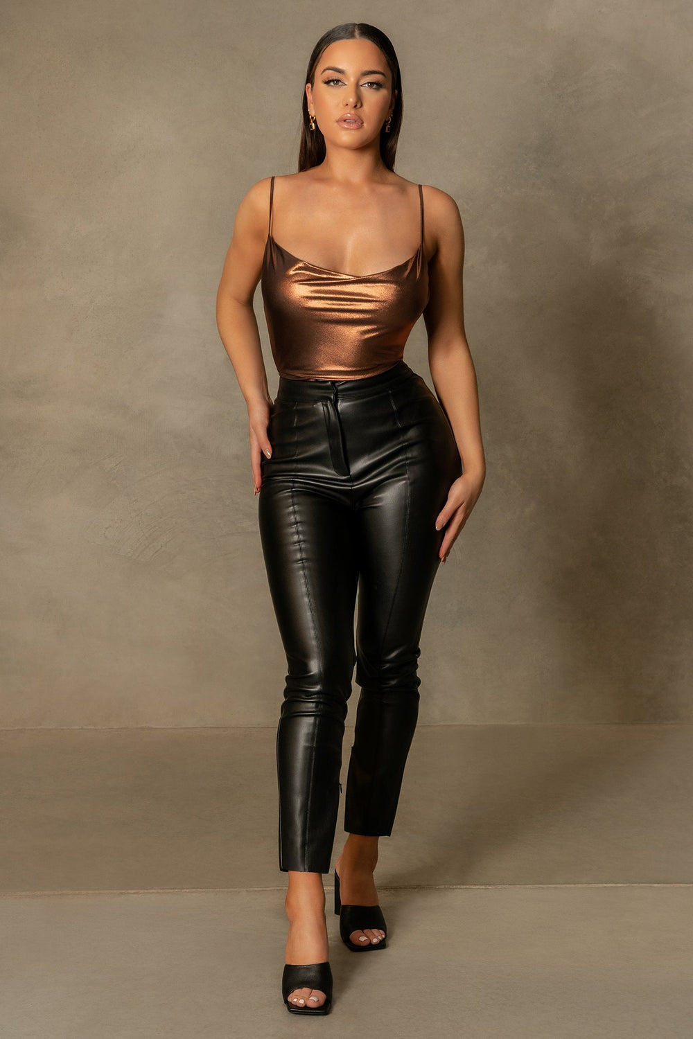 Cita Metallic Cowl Bodysuit - Chocolate - MESHKI ?id=16109880344651