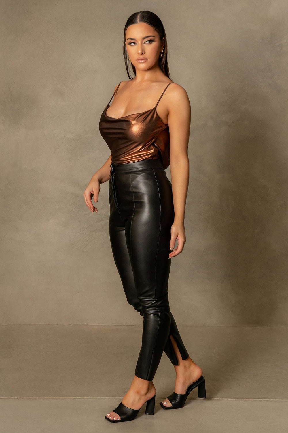 Cita Metallic Cowl Bodysuit - Chocolate - MESHKI ?id=16109880246347