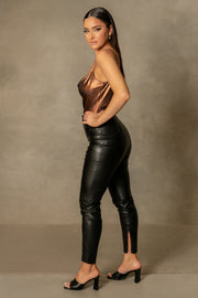 Cita Metallic Cowl Bodysuit - Chocolate - MESHKI ?id=16109880410187