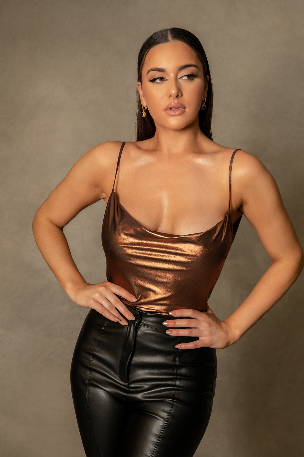 Cita Metallic Cowl Bodysuit - Chocolate - MESHKI ?id=16109880180811