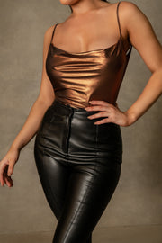 Cita Metallic Cowl Bodysuit - Chocolate - MESHKI ?id=16109880279115