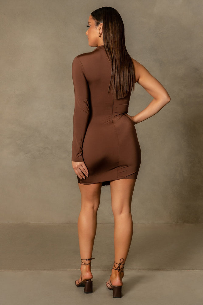 Karlie One Sleeve High Neck Mini Dress - Chocolate - MESHKI