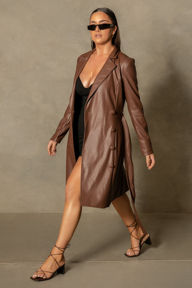 Farley Pu Trench Coat - Chocolate - MESHKI