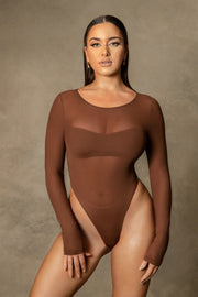 Blaire Mesh Long Sleeve Bodysuit - Chocolate - MESHKI ?id=16109789970507