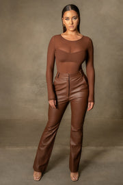 Blaire Mesh Long Sleeve Bodysuit - Chocolate - MESHKI ?id=16109790396491