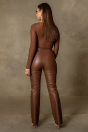 Blaire Mesh Long Sleeve Bodysuit - Chocolate - MESHKI ?id=16109790167115