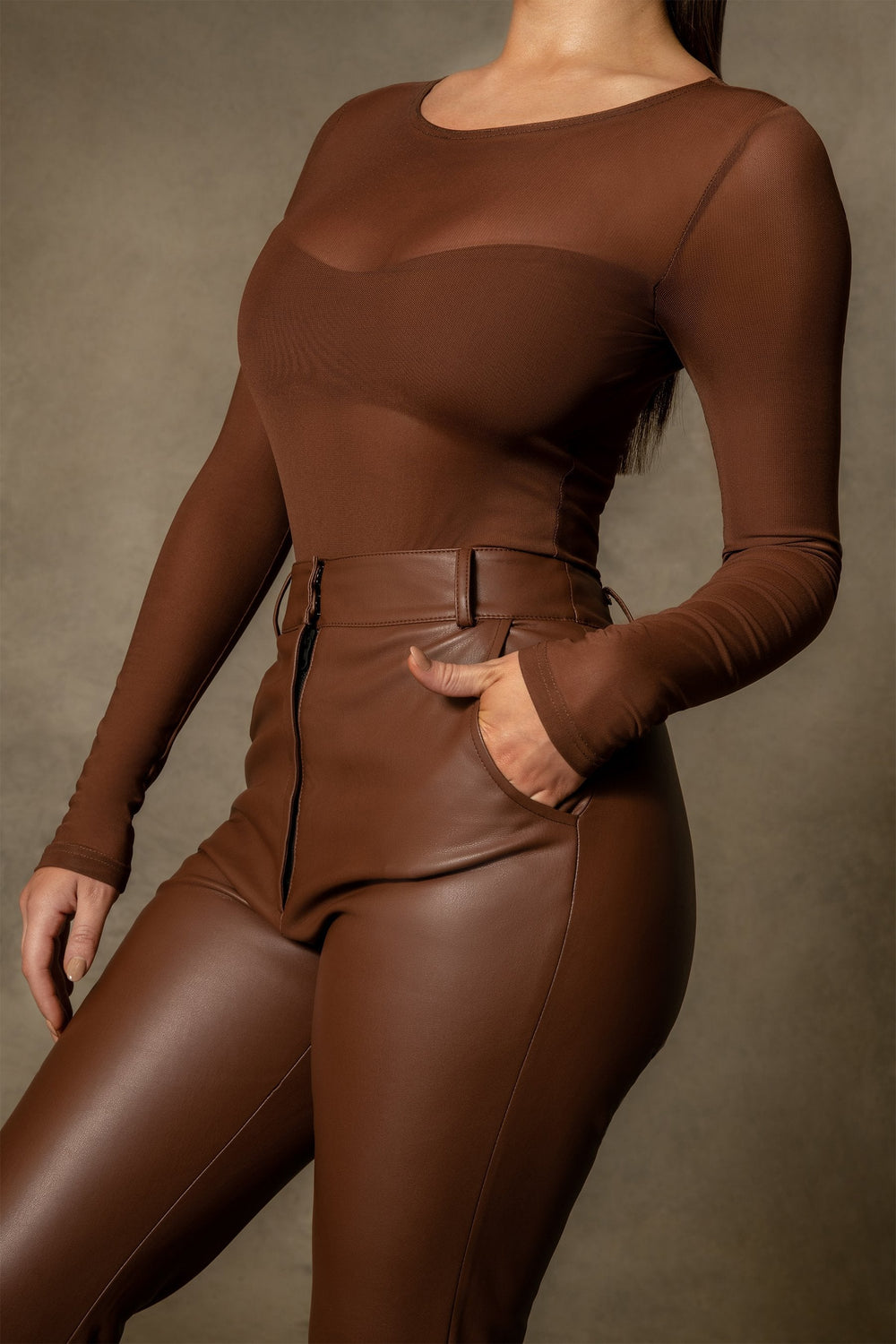 Blaire Mesh Long Sleeve Bodysuit - Chocolate - MESHKI ?id=16109790363723