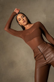 Blaire Mesh Long Sleeve Bodysuit - Chocolate - MESHKI ?id=16109790134347