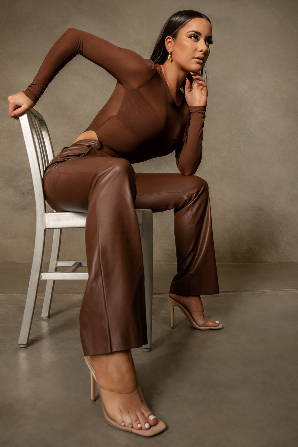 Blaire Mesh Long Sleeve Bodysuit - Chocolate - MESHKI ?id=16109789904971