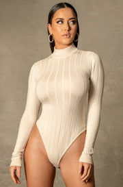 Shania Wide Rib Crew Neck Bodysuit - Cream - MESHKI ?id=16109923729483