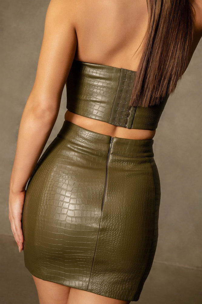 Annabelle Croc Bodycon Mini Skirt - Khaki - MESHKI