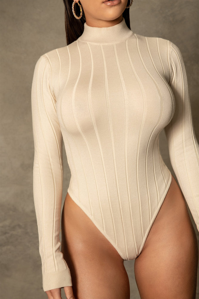 Shania Wide Rib Crew Neck Bodysuit - Cream - MESHKI