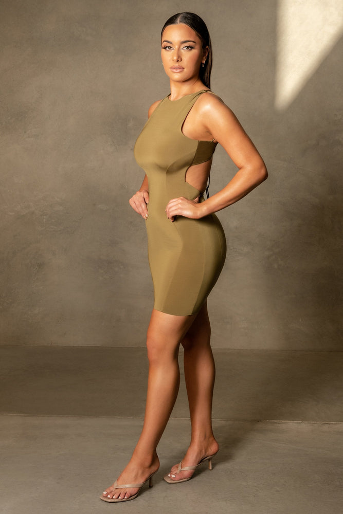 Gisele Sleeveless Halter Back Mini Dress - Khaki - MESHKI