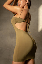 Gisele Sleeveless Halter Back Mini Dress - Khaki - MESHKI ?id=16109840859211