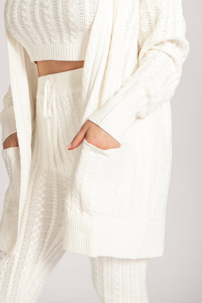Penelope Cable Knit Cardigan - Cream - MESHKI