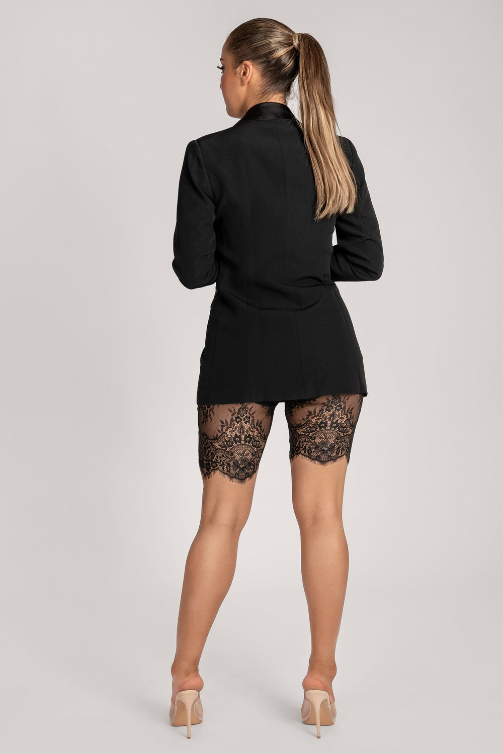 Stacie Lace Panel Bike Shorts - Black - MESHKI ?id=16147334037579