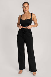 Jazmin Scoop Neck Crop Top - Black - MESHKI ?id=16147337969739