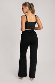 Jazmin Scoop Neck Crop Top - Black - MESHKI ?id=16147338002507