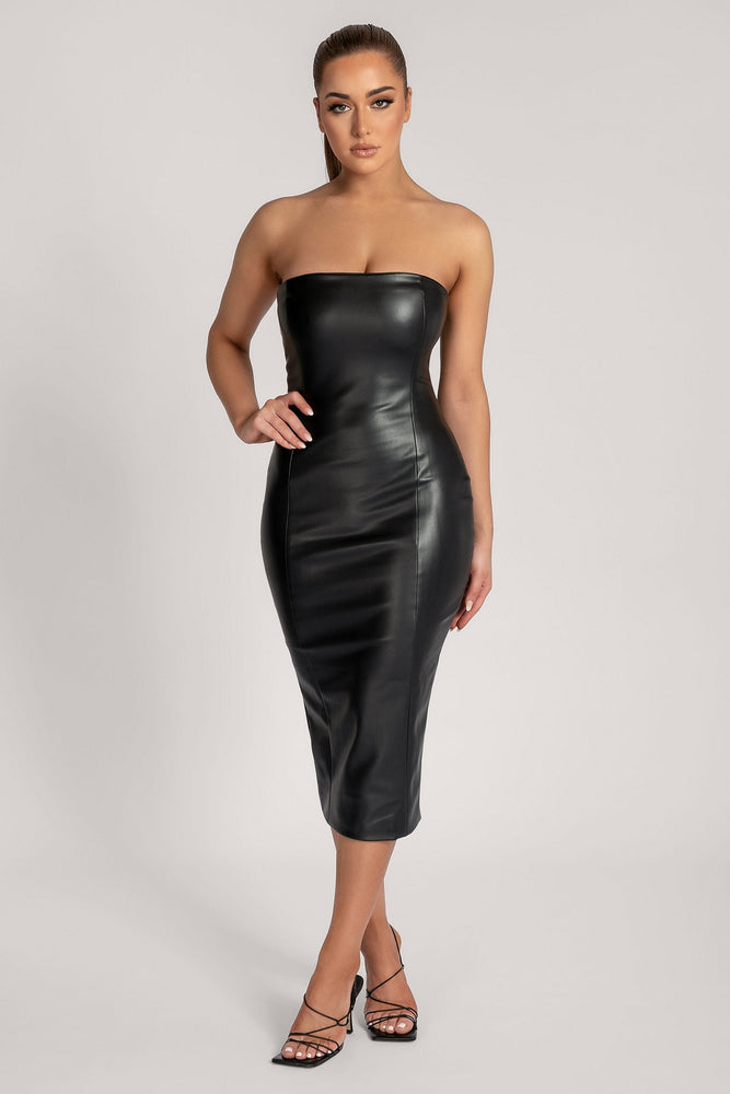 Pamela Strapless Faux Leather Dress - Black - MESHKI ?id=16147315130443