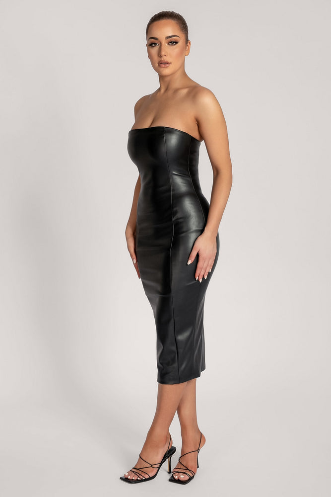 Pamela Strapless Faux Leather Dress - Black - MESHKI ?id=16147315458123