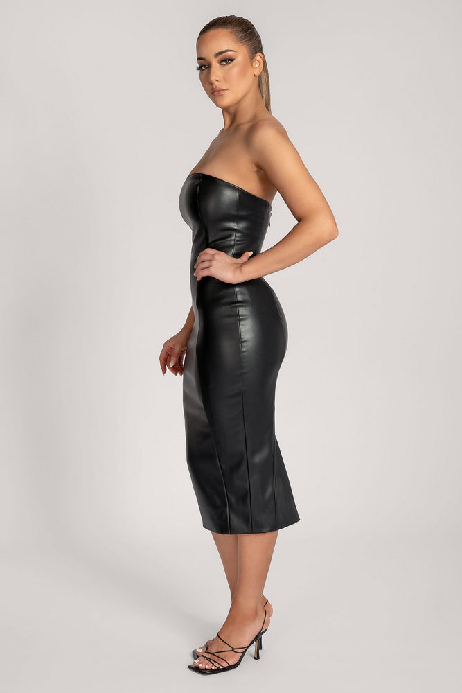 Pamela Strapless Faux Leather Dress - Black - MESHKI ?id=16147315228747