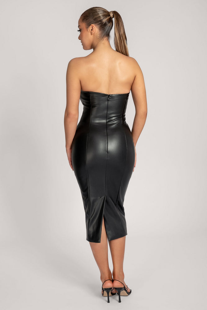 Pamela Strapless Faux Leather Dress - Black - MESHKI ?id=16147315359819