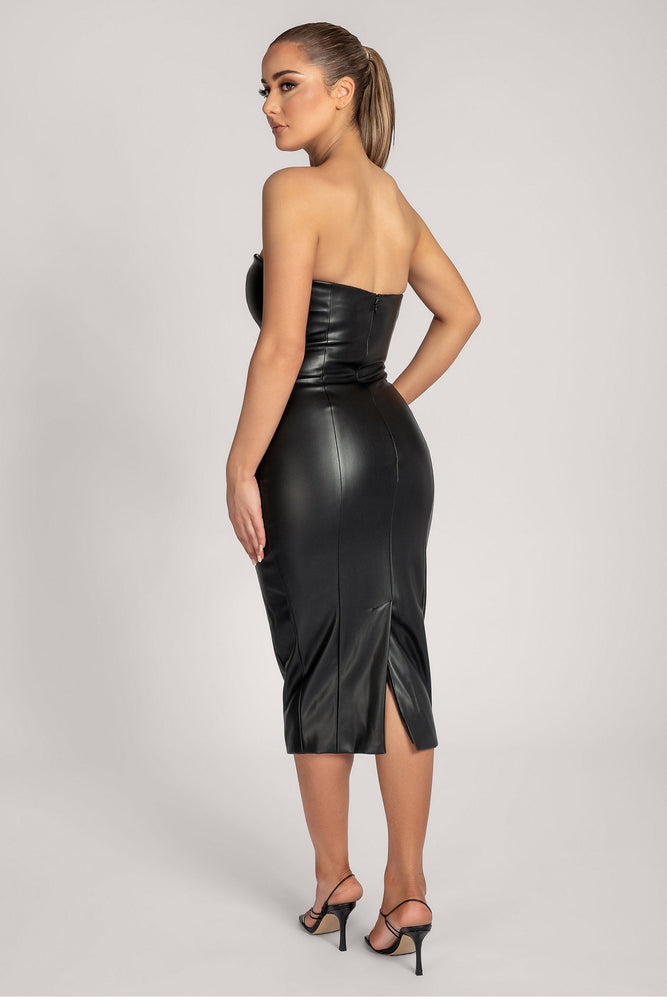 Pamela Strapless Faux Leather Dress - Black - MESHKI ?id=16147315294283